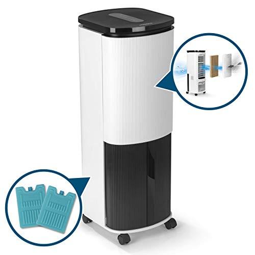 Hoberg Klimagerät 4 in 1 | Luftkühler - Luftreiniger - Luftbefeuchter - Ionisator | aktive Kühlung durch Halbleitertechnologie | Schlafmodus, Timer & Schwenkfunktion
