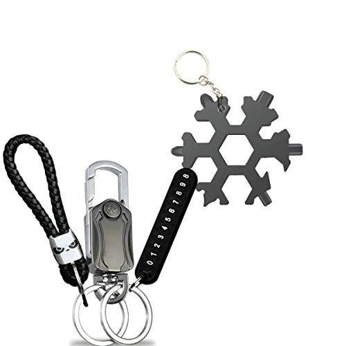 CAIDU 27-in-1 Schneeflocke Multitool mit Schlüsselanhänger-Set für 19-in-1 Cr-V-Stahl Schneeflocken Multi-Tool und 8-in-1 Hochleistungs-Auto-Schlüsselanhänger von Best Outdoor Geschenkset