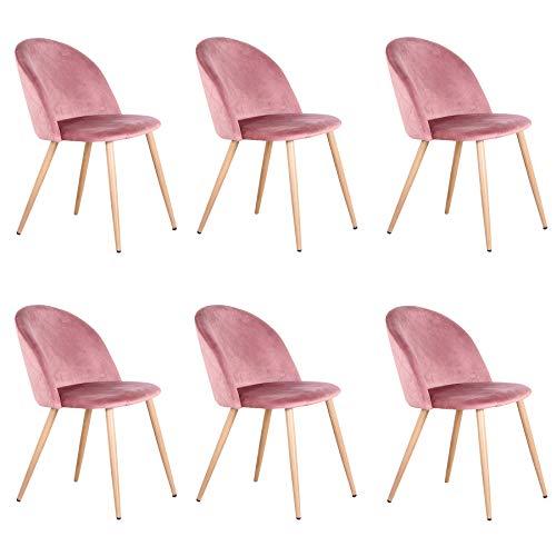 Uderkiny 2/4/6er Set Stuhl mit Ruckenlehne Samtstuhl Esszimmerstuhl, Geeignet fur Kuche Wohnzimmer Esszimmer...