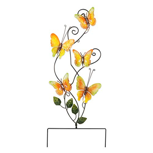 74cm Mariposa Adornos de Jardín, Decoracion de Jardin de Metal Decorativo Estaca de Jardín de Mariposa Real para Exteriores, Patio Trasero, Decoraciones de Navidad(coloridas)