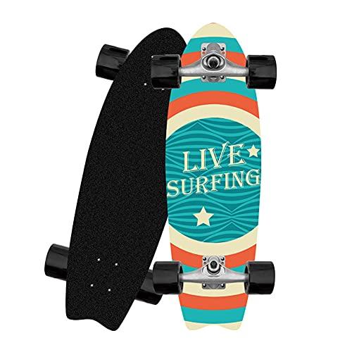 ZBYL Surfskate Deck Monopatín Nino Nina Cruiser Skateboard CX4 monopatin Skate Principiante 8 Capas de Madera de Arce Longboard Completa, Rodamiento ABEC-9, PU Ruedas