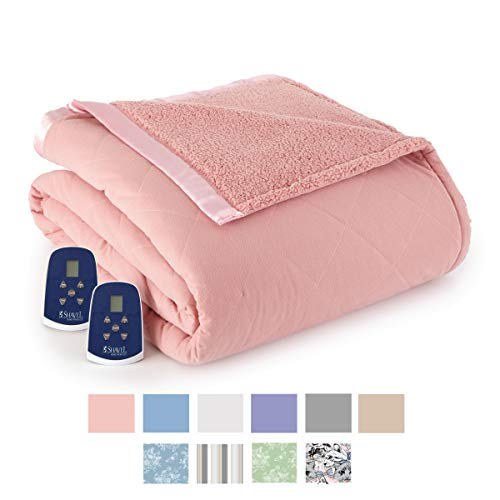 Thermee Micro Flannel Electric Blanket with Sherpa Back, Twin, Blush