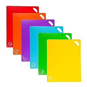 ValueHall Tablas de Cortar de Plástico 38 x 30cm Juego de Tableros de Corte Juego de 6 Tablas con Iconos de Alimentos y Asas de Fácil Agarre Antideslizante Juego de Tablas de Cortar V7093