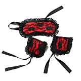 HSBHSJ lace silk Wrist Cuffs with red lace Blindfold for play ¡­