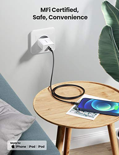 UGREEN USB C auf Lightning Ladekabel MFi Lightning Kabel Typ C Power Delivery kompatibel mit iPhone 12 Mini, SE, iPhone 11 Pro Max, XR, XS Max, X, 8, 8 Plus, iPad 2020, AirPods Pro usw. (Schwarz,1M)