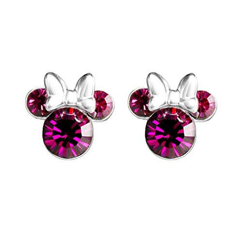 Minnie Mouse Pendientes de plata con piedra natal rosa E905162ROCTL.PH
