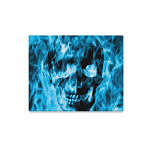 VNASKL Wall Art Painting Skull Emerge from Blue Fire Or Blue Smoke Prints On Canvas The Picture Landscape Pictures Oil for Home Modern Decoration Print Decor for Living Room