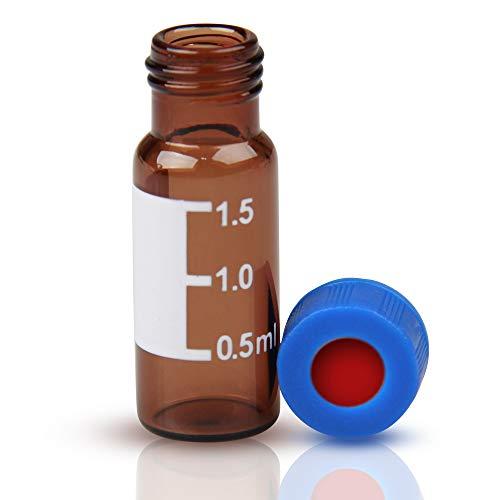 100 frascos de muestras automáticas de vidrio: 2 ml HPLC Viales V947+SC9191 Viales de laboratorio ámbar con punto de escritura y graduaciones 9 mm tapas de tornillo ABS azul