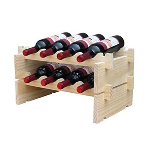 Botellas de vino de madera clásica Vino Titular soporte de almacenamiento en rack de almacenamiento en rack bar bebiendo presentación combinada en los estantes de bricolaje ( Color : 2 layer )