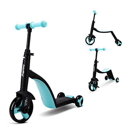YQYM Children Scooter Tricycle Baby 3 in 1 Balance Bike, Adjustable Lean-to-Steer Handlebar, and Foldable Seat, Best Gift for Boys and Girls Ages 1-7 Years Old
