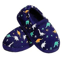 5. festooning Toddler Memory Foam Dinosaur House Slippers