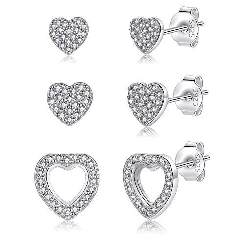 LYTOPTOP Silver Stud Earrings for Women, Sterling Silver Small Heart Cubic Zirconia Stud Earrings Hypoallergenic Tiny Sleeper Helix Earrings for Girls