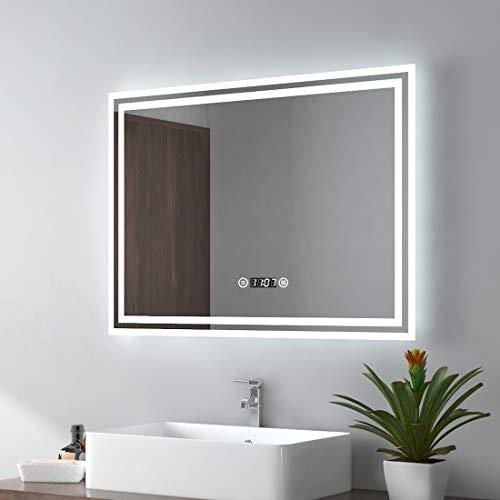 EMKE LED Badspiegel 80x60cm Badezimmerspiegel mit Beleuchtung 3 Lichtfarbe 3000-6400K kaltweiß Neutral Warmweiß Lichtspiegel Badezimmerspiegel mit Touchschalter+Beschlagfrei+Uhr