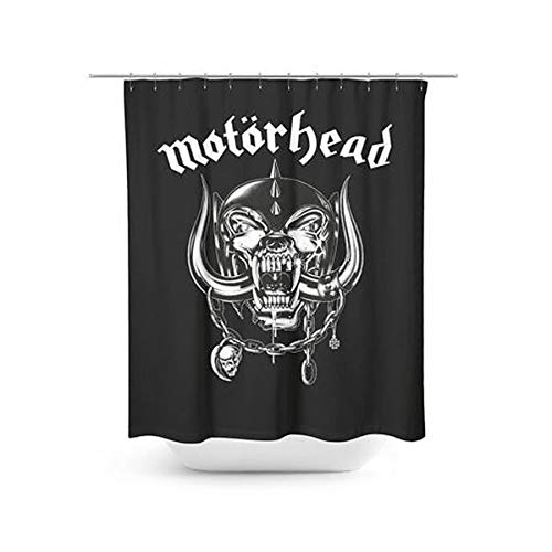 Motörhead Shower Curtain inkl. Ringen für den Vorhang Duschvorhang, Polyester, Schwarz, 180 x 200 x 0.1 cm