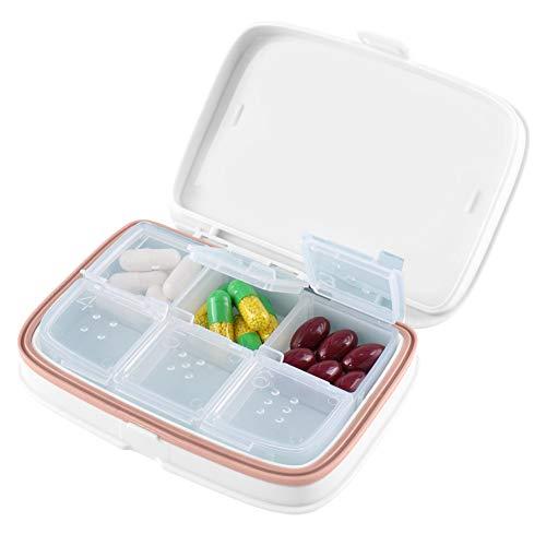 Portapillole Giornaliero Tascabile - Farmaci Organizzatore e Pianificatore di Medicinali - Portapillole Giornaliero Ideali Per il Viaggio - Di HSYTEK (Bianco)