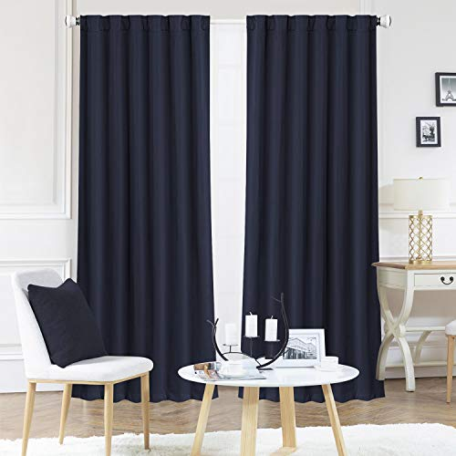 Blackout Curtains, Room Darkening Thermal Insulated Rod Pocket Blackout Window Drapes for Bedroom/living Room, (2Panels, 52 x 84 Inch, Navy Blue)