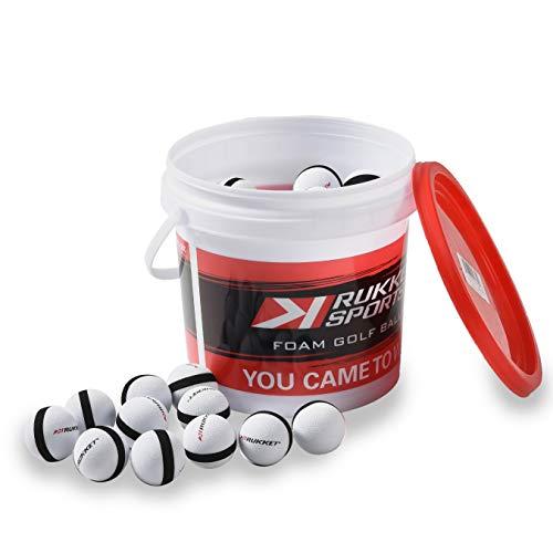 Rukket Practice Golf Ball, Almost Sponge Balls for Indoor Foam Training, Limited Flight High Visibility Birdie Tools (64 Pack + Bucket)