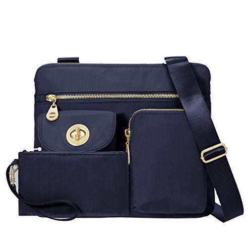 Baggallini Melburne Nylon Crossbody Shoulder Handbag Bundle w Travel Earphones (Navy)