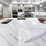 Hivexagon Papel pintado impermeable de mármol para cocina, adhesivo para puerta de mesa, película autoadhesiva, revestimiento para estantes, adhesivo para muebles, 60 * 500 CM, blanco