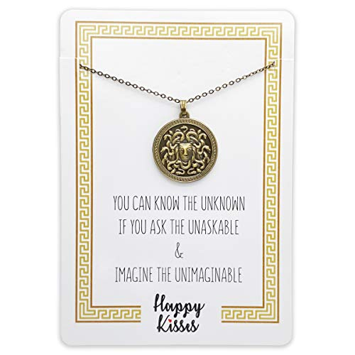 Medusa Necklace - Pendant Jewelry – Greek Mythology Gift – Antique Gold or Silver Finish (Antique Gold)
