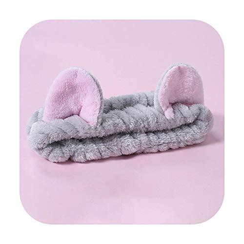 Banda de pelo de felpa Lindo chica y mujer estiramiento banda de pelo lavado cara maquillaje Headwear conejo orejas arco tocado accesorios para el cabello-FS751-14