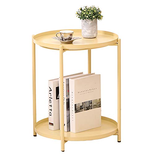 LeChamp Modern Metal Double Layers End Table Round Removable Tray for Outdoor & Indoor Detachable Waterproof Tray Small Sofa Side Table for Living Room, Hallway, Bedroom, Garden, Balcony Yellow