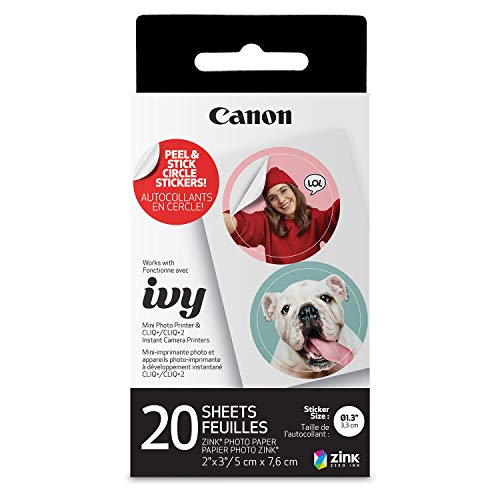 Canon IVY ZINK Pre-Cut Circle Sticker Paper, 20 Sheets