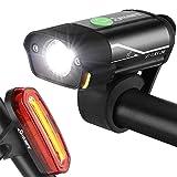 Yabife Luces Bicicleta Delantera y Trasera Linterna Bicicleta Impermeable, Multifunción Luz LED Bicicleta Recargable USB con 5 Modos para Carretera y Montaña - Seguridad para la Noche