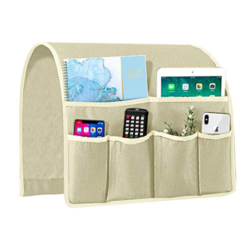 Joywell Sofa Armrest Organizer, Couch Arm Chair Caddy with 6 Pockets for Magazine, Books, TV Remote Control, Cell Phone, iPad (Ivory White)