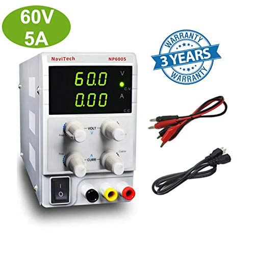 60V 5A DC Bench Power Supply Variable 3-Digital LED Display, Precision Adjustable Regulated Switching Power Supply Digital with Alligator Leads US Power Cord for Lab Equipment, DIY Tool, Repair