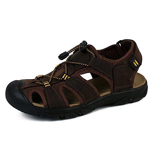 Sandalias Deportivas Verano Los Hombre, Senderismo Cuero Al Aire Libre Pescador Playa Zapatos Impermeables Playa Marrón Verde 38-48 Oscuro Marrón 48