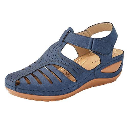 Damen Outdoor Sandals Slingback Mid Wedge Riemchensandale Keilsandalen Sommer Strandschuhe(Blau/Navy,39)