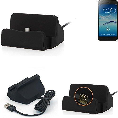 K-S-Trade Dockingstation Für Jiayu S3+ Docking Station Micro USB Tisch Lade Dock Ladegerät Charger Inkl. Kabel Zum Laden Und Synchronisieren, Schwarz