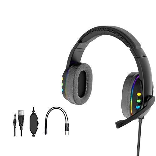 Auriculares para juegos con micrófono estéreo sumergible bajo sobre la oreja para PS4 PS5 Xbox One PC portátil con micrófono con cancelación de ruido luz LED USB conector de auriculares de 3,5 mm