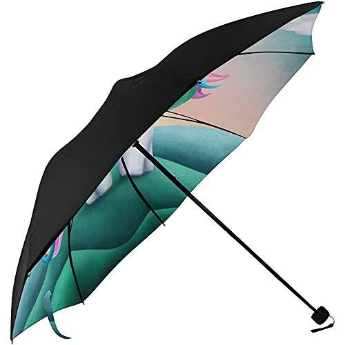 UV-Regenschirm Digital Little Cute Uincorn Underside Printing Tragbarer Regenschirm Kompakter Sonnenhut-Regenschirm Adult Parasol Umbrella