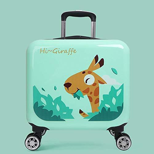 Trolley abs + pc Material Reisekoffer Cartoon Giraffe grün