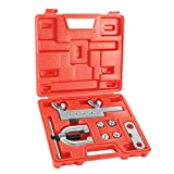 Flexzion DIN/ISO Bubble Flare Brake Line Flaring Tool Kit with 4.75 (CNF-3), 6 (CNF-4), 8, 10mm Adapters Dies...