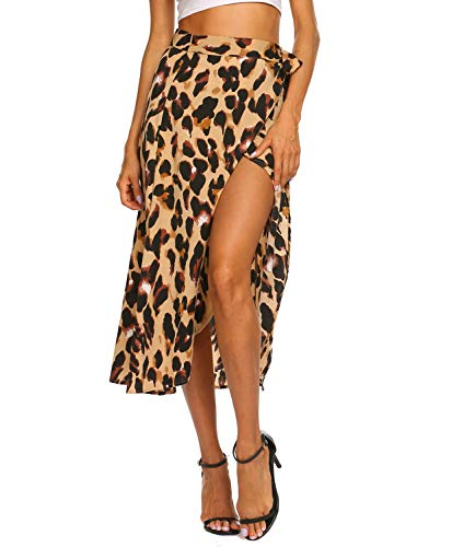 Newchoice Midi Skirts for Women Summer Leopard Print Front Slit Wrap High Low Skirt (L,Leopard Yellow)