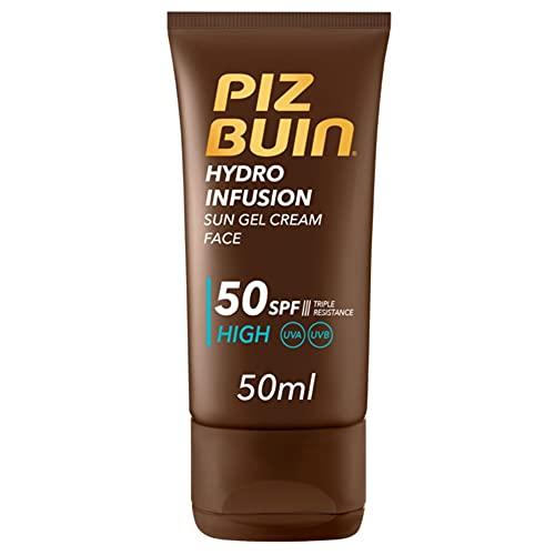 Piz Buin, Protector Solar Hydro Infusion Crema Solar en Gel SPF 50 Protección Muy Alta, 50 ml