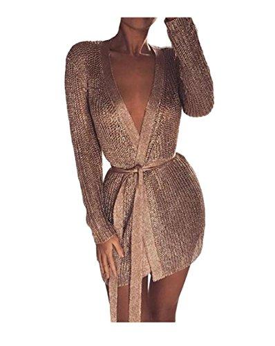 Sentao Donna Lungo Cardigan Manica Lunga Autunno Elegante Moda Giacca Cappotto Maglieria Knitted Pullover Tops (Oro, Asia M)