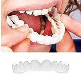 Anzkzo Dientes de dentadura Blanqueamiento de la Dentadura Cosméticos Carillas De Dientes Temporal superior e inferior Dientes Carillas Silicona Blanqueamiento Teeth- A