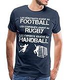 Les Experts Jouent Au Handball T-Shirt Premium Homme, S, Bleu Marine