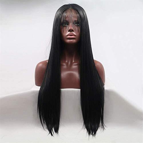 Hermosa Peluca Larga Ondulada Pelucas Wig Ladies Conjuntos Hechos a Mano Conjuntos de Encaje y Peluca Conjuntos en la Peluca Conjuntos de Pelo - Negro - Pelo Largo Largo Pelucas de Fiesta
