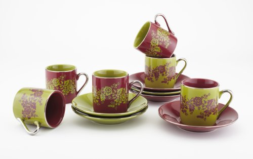 Espresso Cups Set Of 6 – by Yedi Houseware  Floral Demitasse Cup and Saucer Set Made of Porcelain  2.5 Oz Burgundy Red and Pear Green Coffee Cups with Elegant Silver Plated Handles and Edges