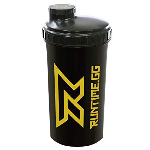 Runtime Protein-Shaker | Sport-Flasche für Nutrition und Fitness | 700ml Fassungsvermögen | mit Sieb - 100% dicht | BPA-frei - inkl. Messskala - transparent (Black Yellow)