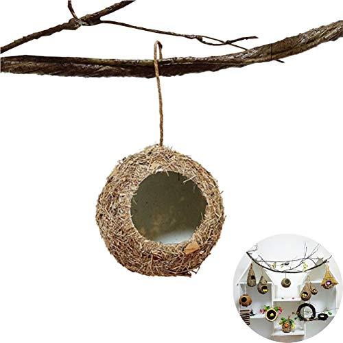 LZJDS Casitas De Pajaros Decoración Simulación Hierba Pasta Tejida A Mano Hierba Casa De Pájaro Nido De Hierba Colgante Hecho A Mano Nido De Pájaro Redondo