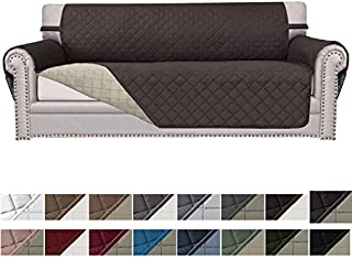 Easy-Going Sofa Slipcover Reversible Sofa Cover Water Resistant Couch Cover Furniture Protector with Elastic Straps for Pets Kids Children Dog Cat(Sofa, Chocolate/Beige)