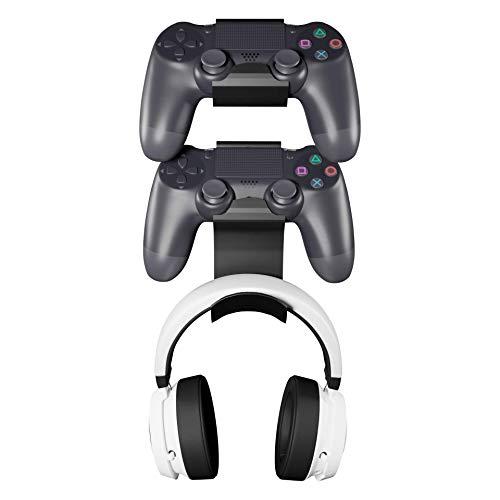GENIALISS - Base Soporte para 2 Controles Playstation PS4 Dualshock Inalambrico Alambrico Y Audifonos Gamer Universales Headset