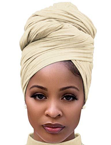 Abrigo largo ligero para la cabeza para mujer, de algodón, para la cabeza -  Negro -  178 cm x 81 cm