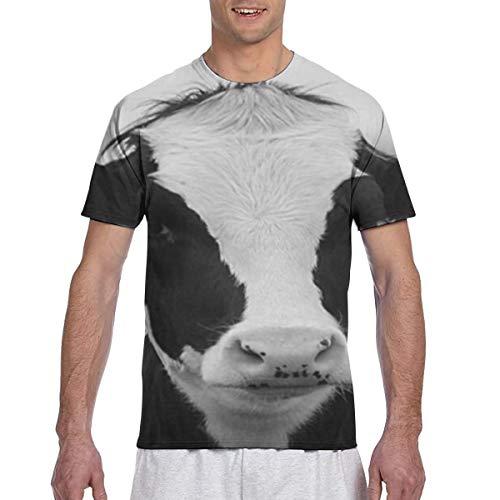 Herren T-Shirts Charming White Cow Herren Arbeitskleidung Kurzarm T-Shirt
